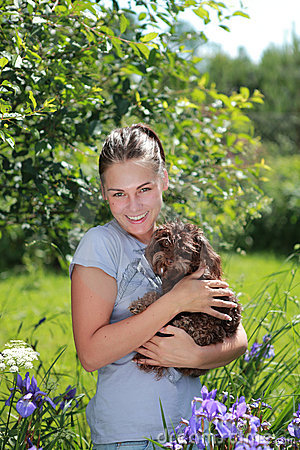 Free Beautiful Girl With Brown Dog Stock Photo - 15434160
