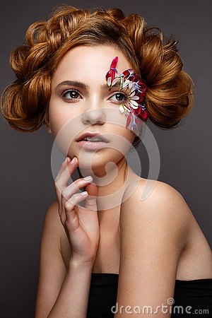 Free Beautiful Girl With Creative Make-up With Floral Appliques. The Model In The Style Of Romantic With Flower Petals Around Her Eyes. Royalty Free Stock Photography - 72932957
