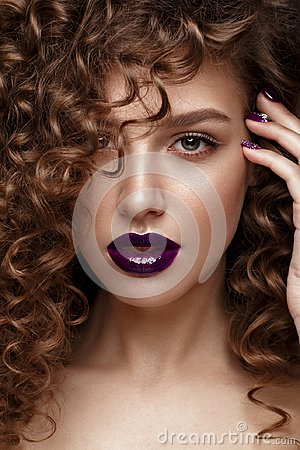 Free Beautiful Girl With Evening Make-up, Purple Lips, Curls And Design Manicure Nails. Beauty Face. Stock Photos - 118158543