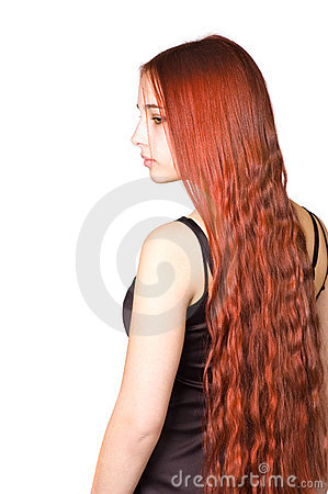 Free Beautiful Girl With Long Red Culry Hair Stock Image - 2040121