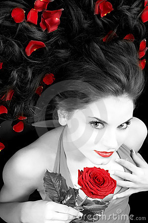 Free Beautiful Girl With Rose Stock Photos - 8284863