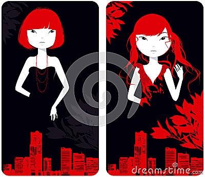 Beautiful girls against city buildings