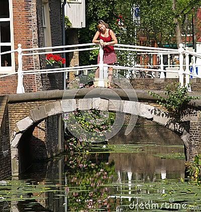 Beautiful girls on bridge