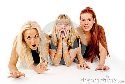 Beautiful girls frightened look, shout