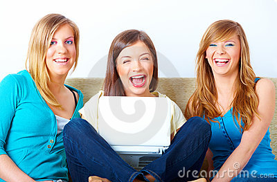 Beautiful girls with laptop