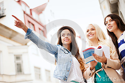 Beautiful girls looking for direction in the city