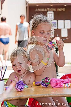Beautiful girls painting