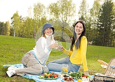 Beautiful girls at picnic