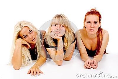 Beautiful girls sad watching TV