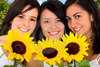 Beautiful girls, sunflowers