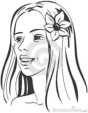 Beautiful Glamorous Woman s portrait with flower