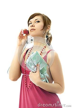 Beautiful glamorous woman talking on the cellphone