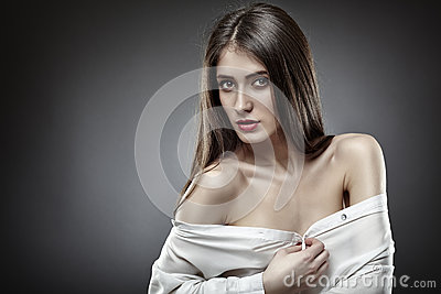 Beautiful glamour woman on gray background