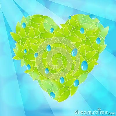 Beautiful, glittering heart from leaves