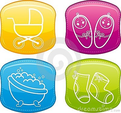 Free Beautiful Glossy Buttons - Baby Icons. Royalty Free Stock Images - 20011459