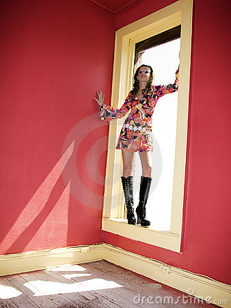 Beautiful Go Go Girl in Window