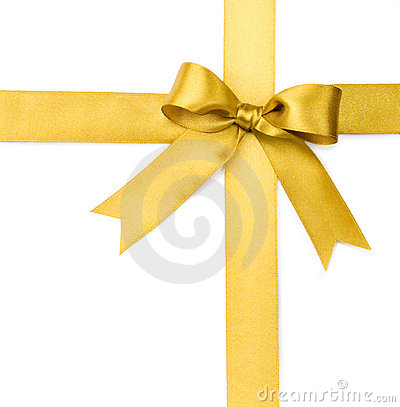 Free Beautiful Gold Bow On White Background Royalty Free Stock Photos - 12012718