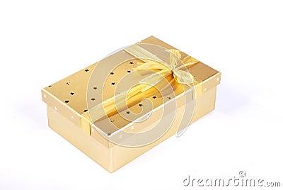Beautiful golden gift box