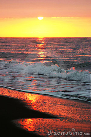 Free Beautiful Golden Sunrise As Seen From The Sandy Beach In Marbella Stock Photo - 122030