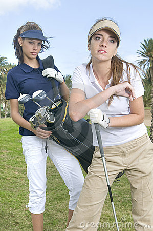 Beautiful golf players during a golf play