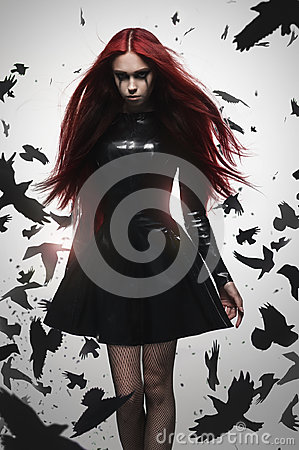 Free Beautiful Goth Mistress Evil Girl Stock Images - 96513404