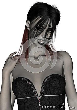 Beautiful, gothic, sexy female vampire