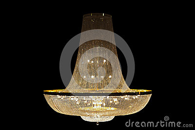 Beautiful Grand chandelier isolated with clipping paths on black background.