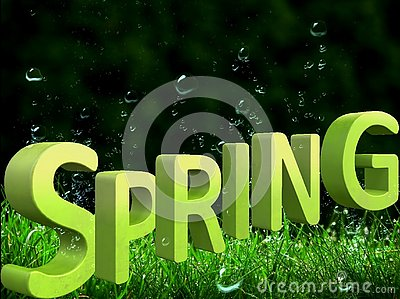 Beautiful green background with a big spring inscription in 3d format Stock Photo