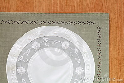 Beautiful Green tablecloth and flower lace