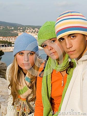 Beautiful group teenagers