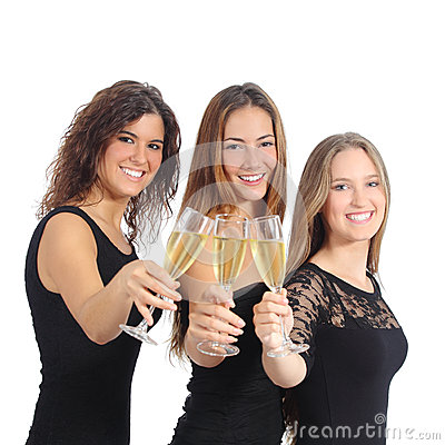Beautiful group of three women toasting with champagne