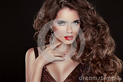 Beautiful hair, Fashion Woman Portrait. Beauty Model Girl with l