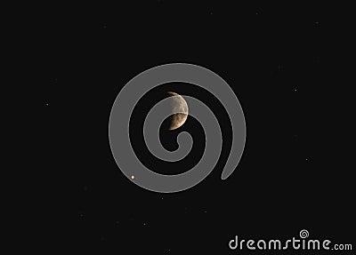 Beautiful half moon with stars at night Stock Photo