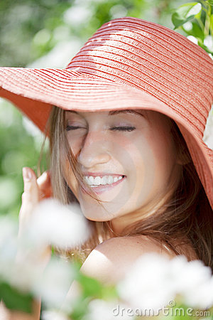 Free Beautiful Half-naked Woman Among Flowering Gardens Stock Photography - 14800972
