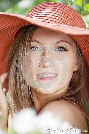 Free Beautiful Half-naked Woman Among Flowering Gardens Stock Photography - 14801042