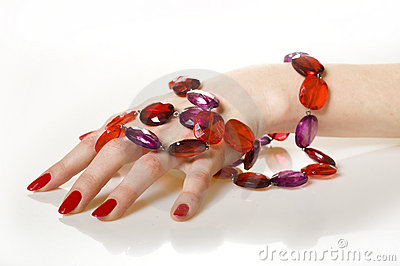 Beautiful hands with perfect red manicure