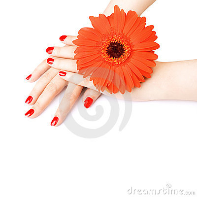 Beautiful hands with red manicure.