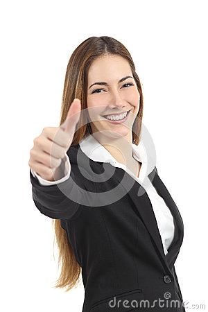 Beautiful happy business woman gesturing thumb up
