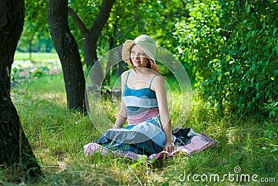 Beautiful happy elegant woman outdoors