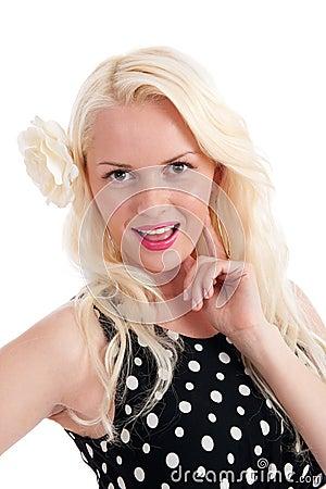 Beautiful happy female in polker dot dress