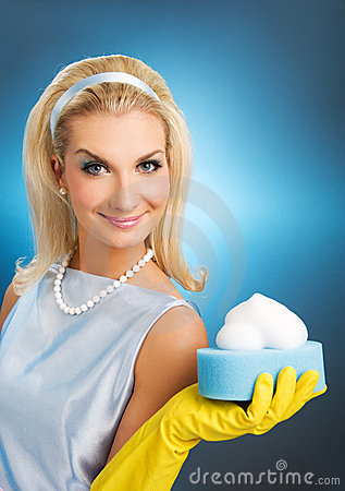 Beautiful happy housewife