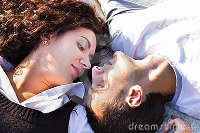 Beautiful Happy Love Couple Lying Royalty Free Stock Images - Image: 24055259