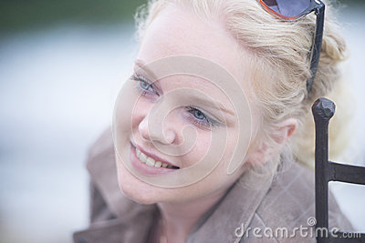 Beautiful happy relaxed smiling blond woman