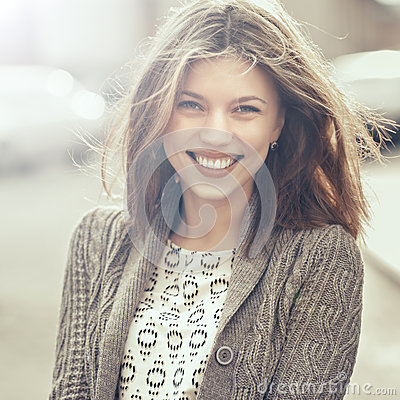 Free Beautiful Happy Smiling Girl Outdoors. Woman Smiling Joyful, Fri Stock Photo - 49077920
