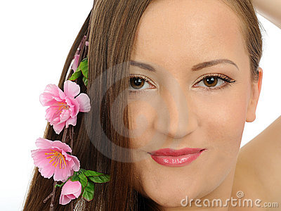 Beautiful happy spa woman with long healthy hair
