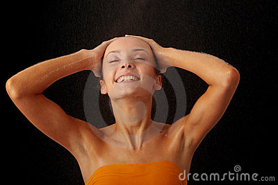 Beautiful happy wet woman face