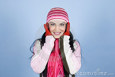 Beautiful happy winter woman