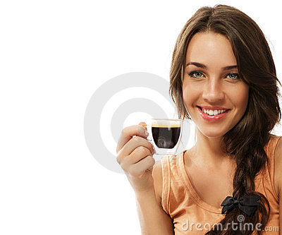 Beautiful happy woman with a cup of espresso coffe