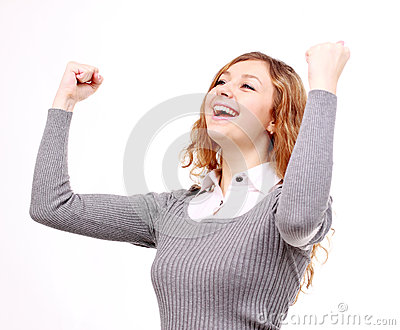 Beautiful, happy woman raised hands up, white background