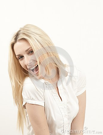 Beautiful happy young blond girl